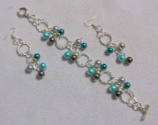 Cod 2157 Pulsera de perlas en tonos turquesas