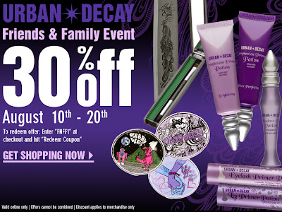 urban decay friends and family 30 percent off