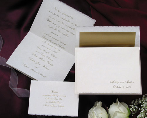 The Purple Mermaid French Fold Natural Parchment Deckled Edge Wedding Invitations