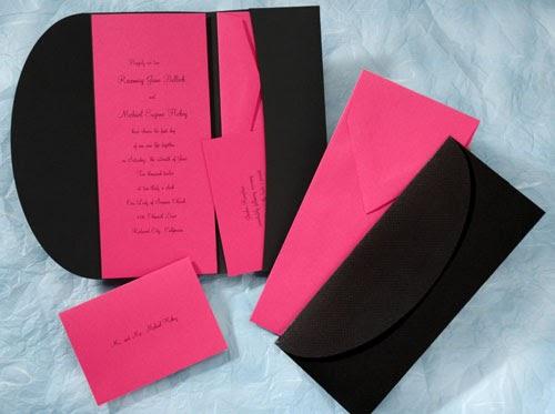 the purple mermaid  hot pink and black pocket wedding invitations