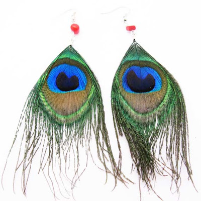 Green and Blue Feather Earrings