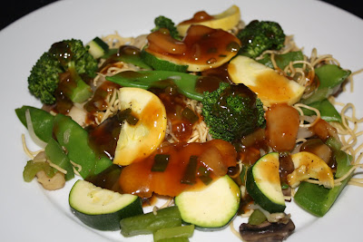 Hunan Sauce Drizzled Over Chow Mein and Vegetables