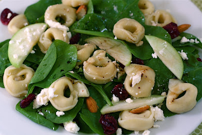 Spinach Salad with Tortellini, Dried Cranberries, Apples, Almonds, and ...