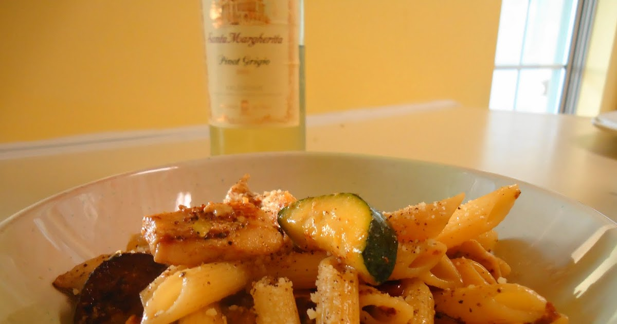 Epic Eats Pasta With Chicken Zucchini And Yellow Squash In A Garlic White Wine Sauce