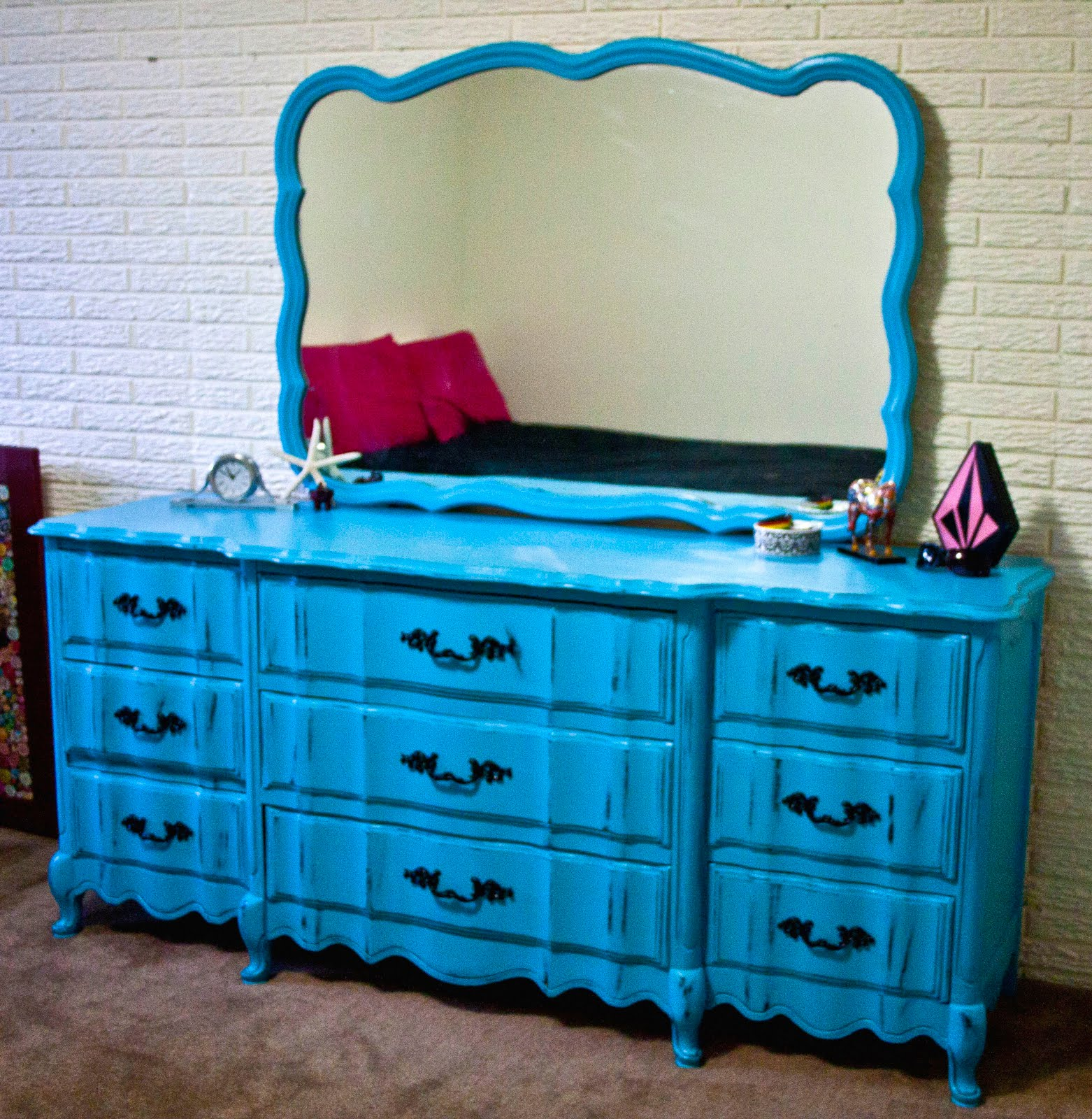 modernly shabby chic furniture electric blue and black dresser with mirror. Black Bedroom Furniture Sets. Home Design Ideas