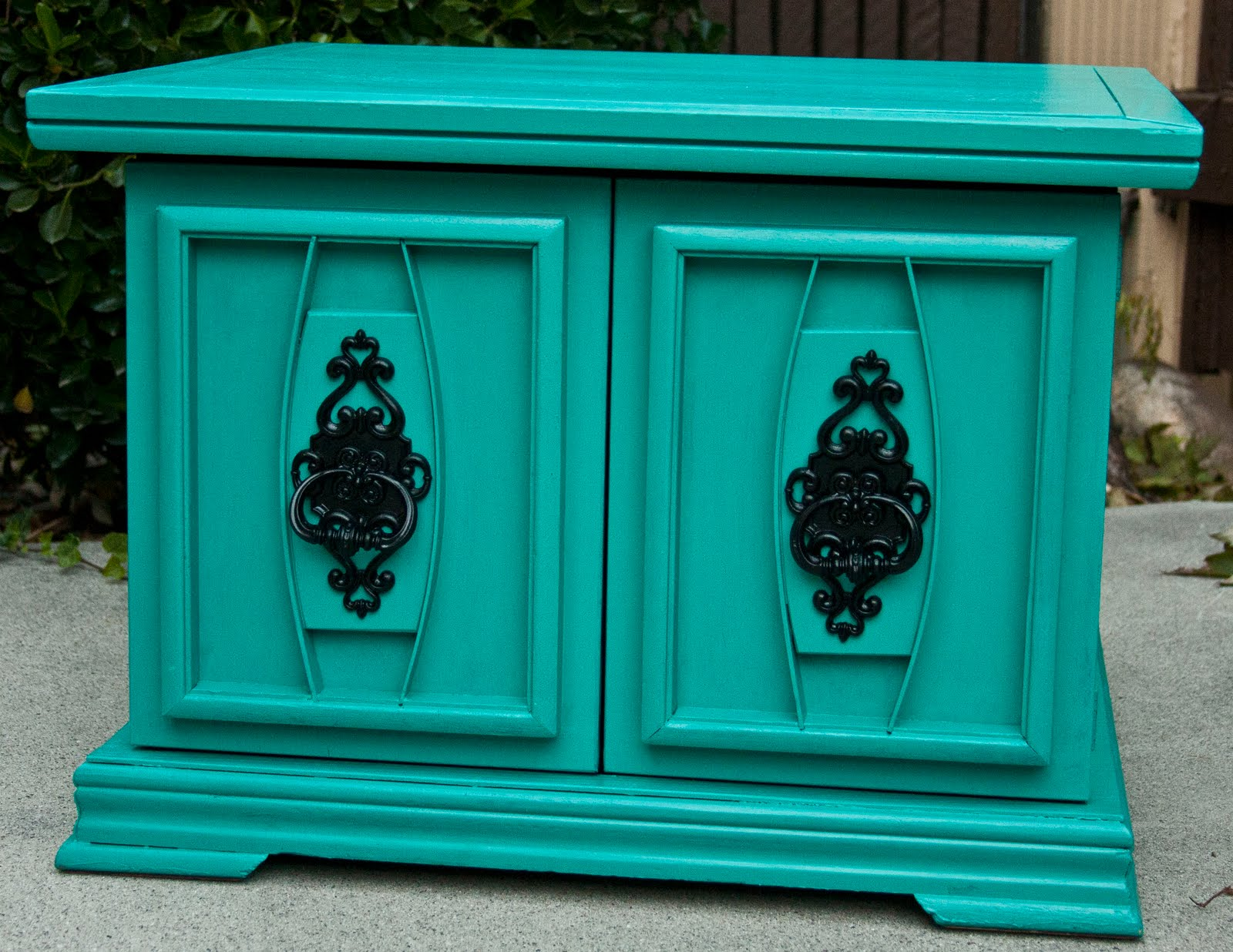 Teal Furniture modernly shabby chic furniture: teal nightstand/end table