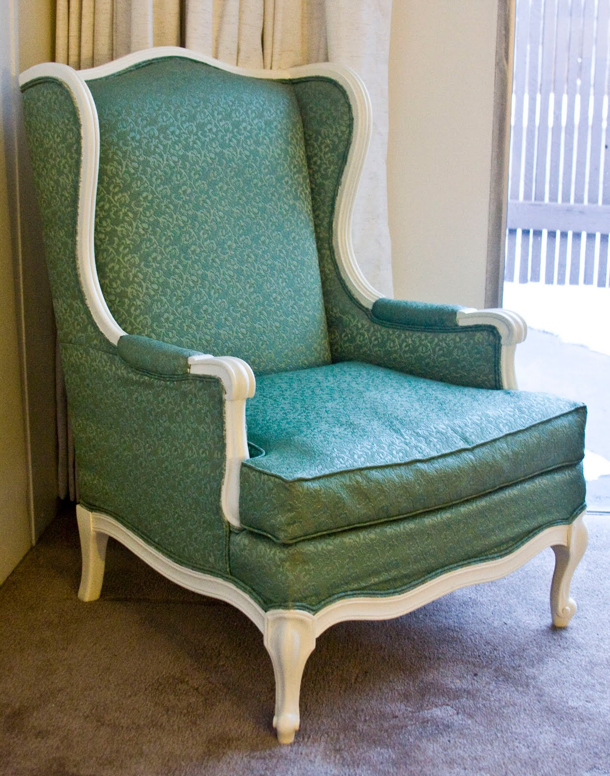 pin modernly shabby chic furniture vintage cream and green wing back on pinterest. Black Bedroom Furniture Sets. Home Design Ideas