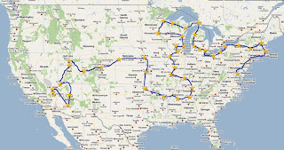 map of Tea Party Express tour