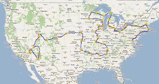 map of Tea Party Express tour