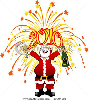 Santa Claus celebrating New year's