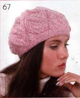 розовый берет связаный спицами с косами теплый