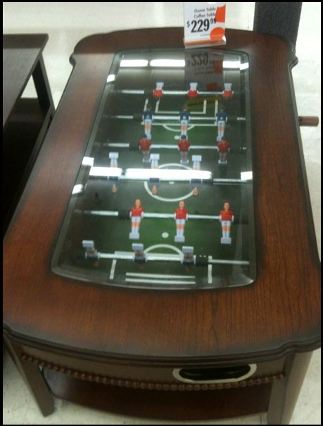 A coffee table with a built in - Foosball Coffee Table Big Lots