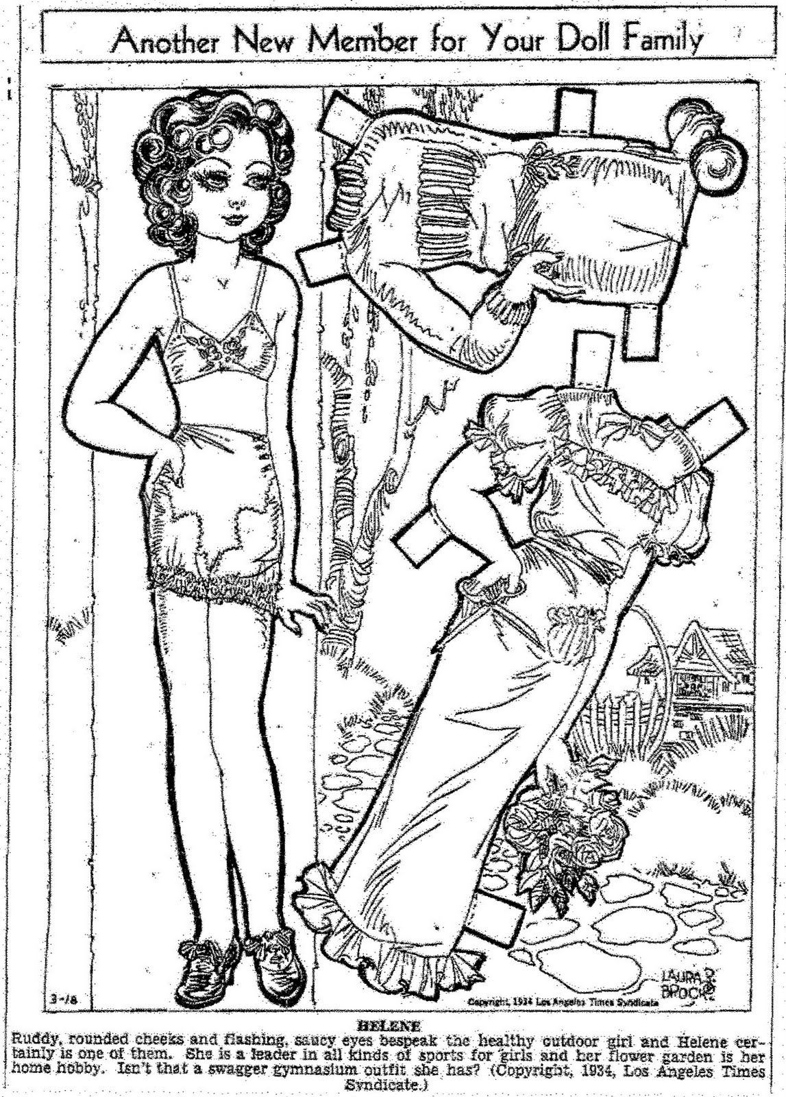 mostly paper dolls helene paper doll by laura brock 1934