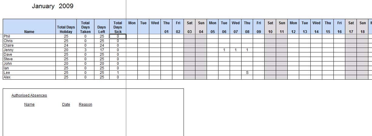 attendance tracker spreadsheet