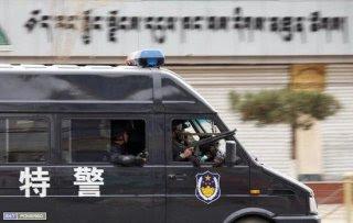 Police van in Lhasa