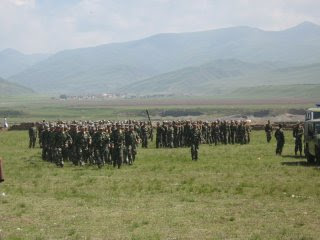 Chinese military training on the grasslands