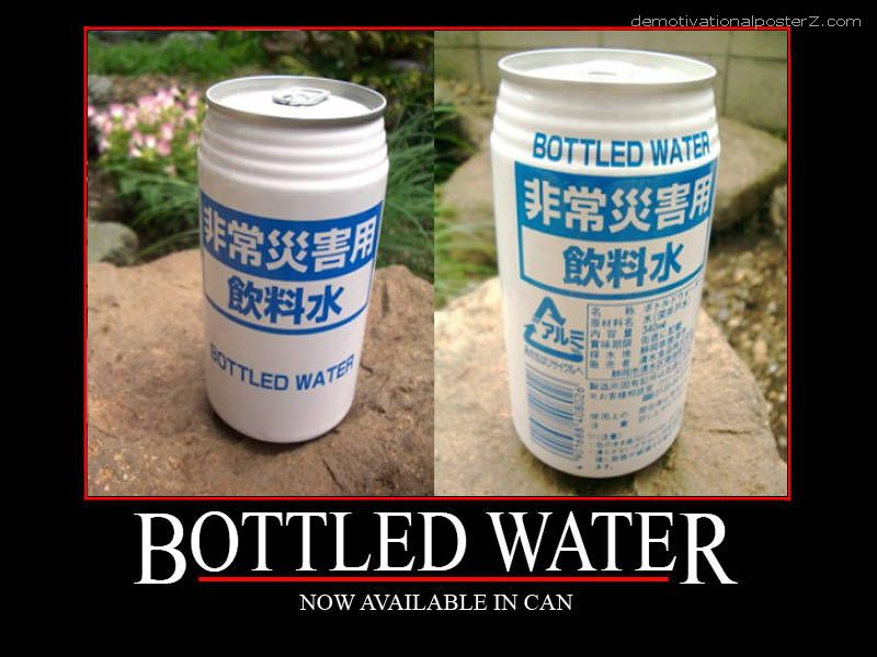 Bottled water in can