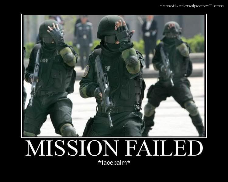 Mission failed - facepalm