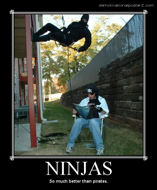 ninjas so much better than pirates motivational poster