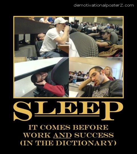 sleep It comes before work and success (in the dictionary). demotivational poster