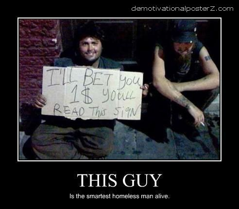 funny homeless man