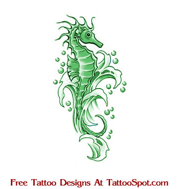 Seahorse tattoo on girl's shoulder blade. Our contemporary fascination with