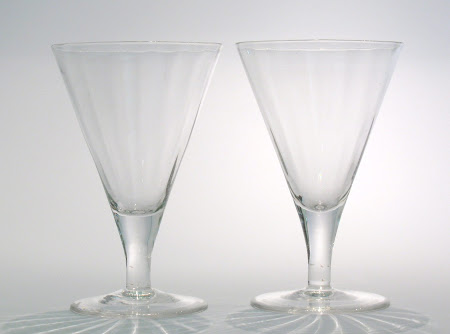 Wonderful PAIR of Ribbed Claret Glasses pat.1464