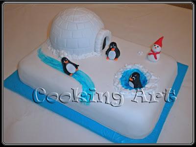 tarta fondant pingüinos