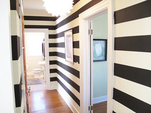 The tile shop design by kirsty painted walls for Painting stripes on walls in kids room