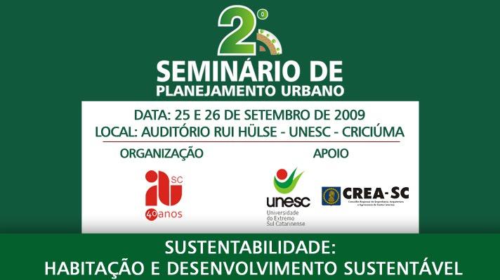 II Seminário de Planejamento Urbano: Habitação e Desenvolvimento Sustentável