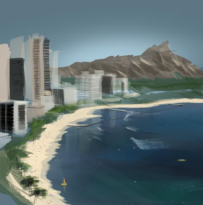 Study off a picture of a Honolulu beach.