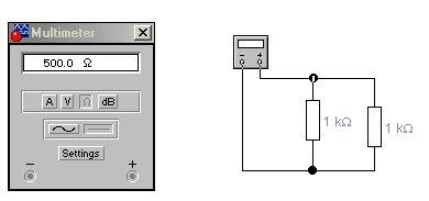 Simulação dum ohmímetro a medir duas resistências de 1kW em paralelo.