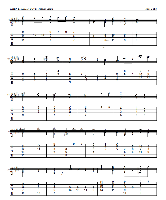 Jazz guitar tabs: When I fall in love