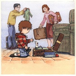 Ilustración infantil la familia de la ratona Olivia se va de viaje, hecha por ªRU-MOR