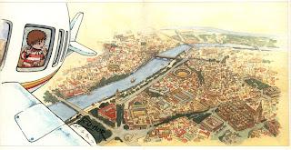Ilustración para cuento infantil de la panorámica de Sevilla, hecha por ªRU-MOR