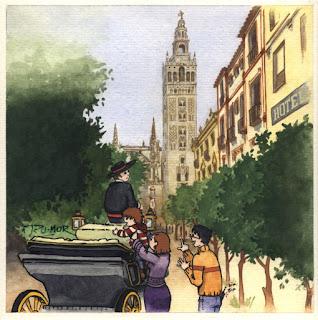 Ilustración de cuanto infantil de la Giralda en Sevilla, hecha por ªRU-MOR
