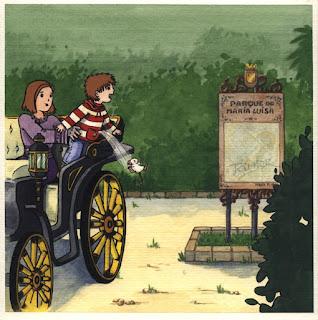 Ilustración cuento infantil del Parque María Luisa de Sevilla, hecha por ªRU-MOR