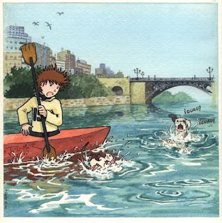 Ilustración cuento infantil del Puente de Triana en Sevilla, hecha por ªRU-MOR