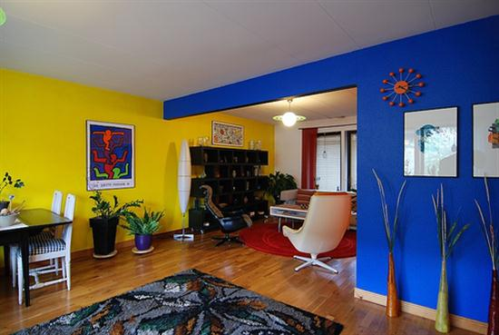 blue yellow in modern interior house wall paint color living room. Black Bedroom Furniture Sets. Home Design Ideas