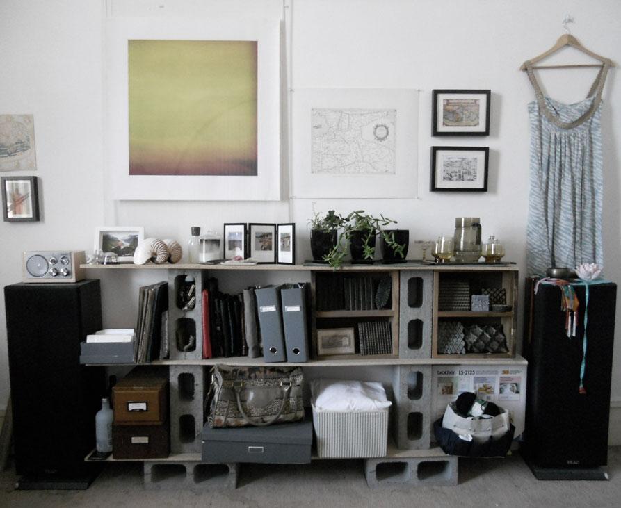 Cinder block shelf homey ideas pinterest for Besser block home designs
