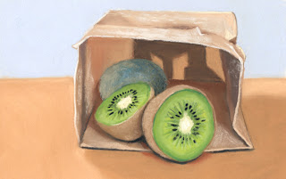 kiwi daily pastel painting
