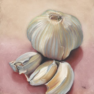 garlic bulb daily pastel painting