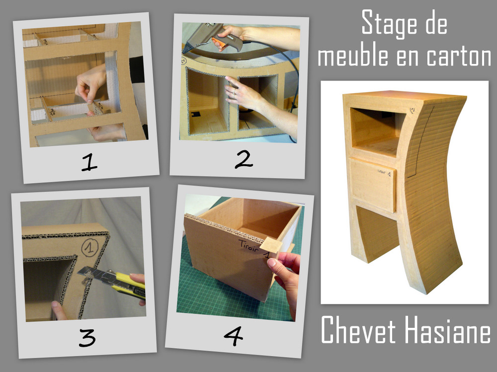 Au fil du temps le blog d 39 h lid e stages meubles en for Tutoriel meuble en carton