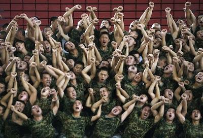 soldiers having fun