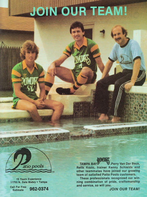 An Advertisement For Patio Pools From 1983, Showing Perry Van Der Beck,  Refik Kozic And Trainer Ken Schields Enjoying The Pool.