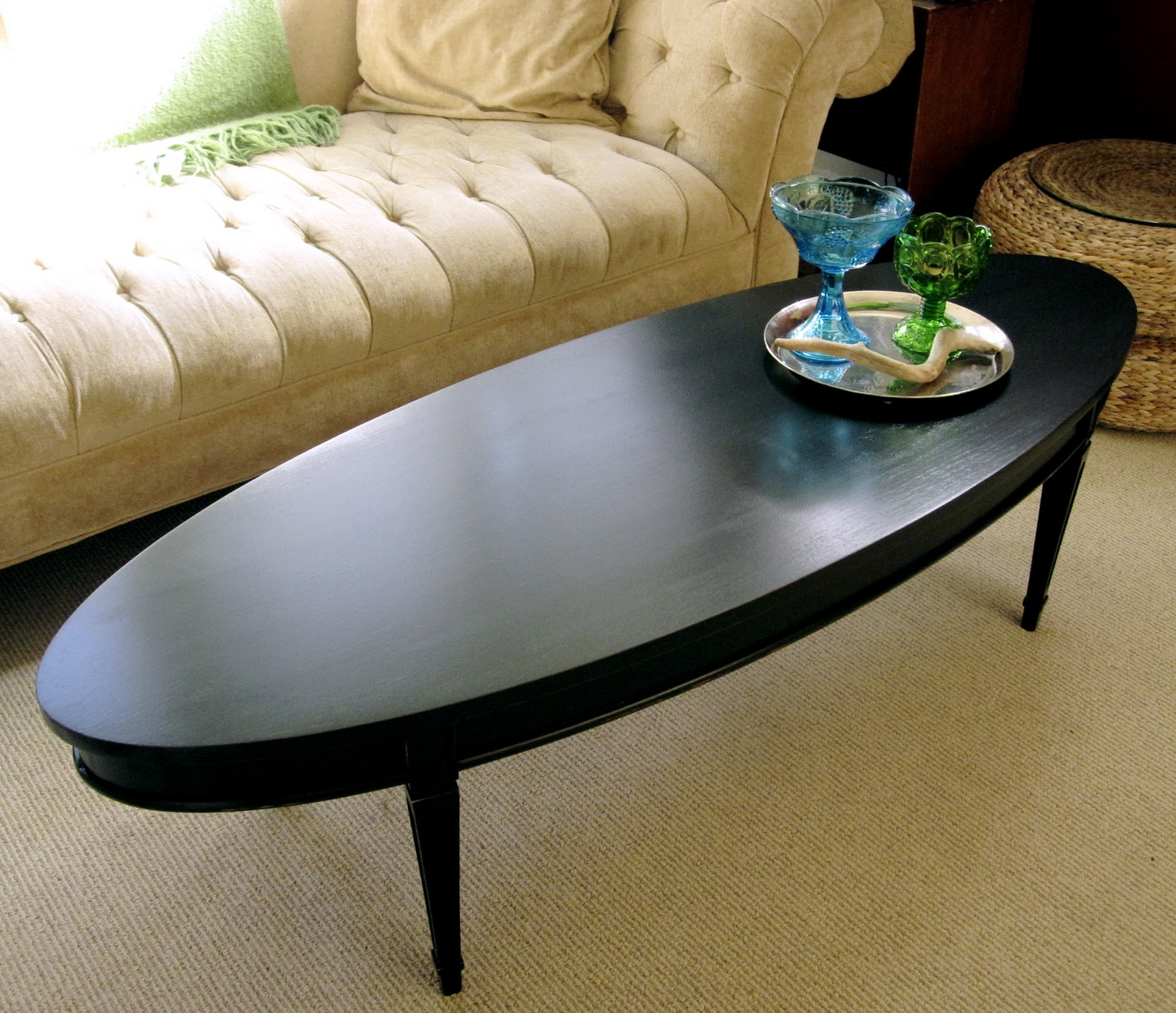 sweet tree furniture black oval coffee table