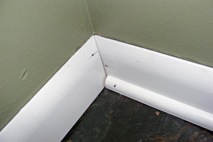 modern homemaker half bath renovation base molding