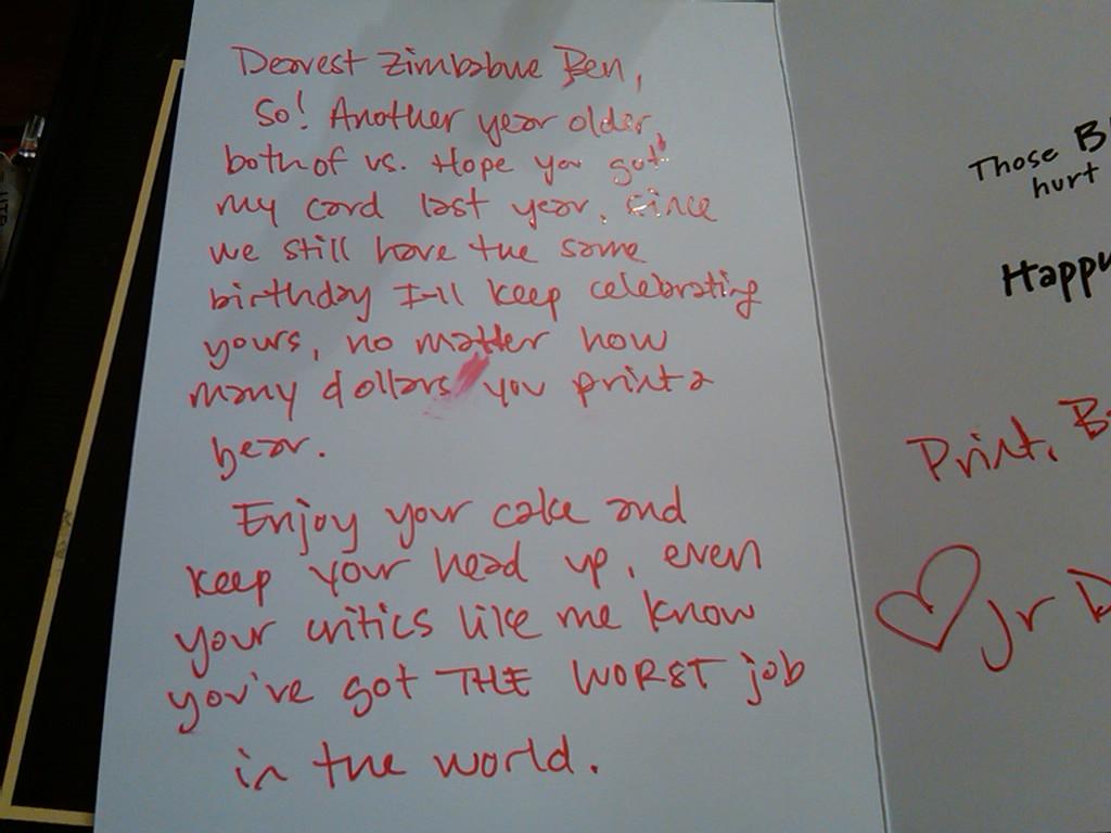 Jr Deputy Accountant Happy Early Birthday Ben Bernanke – Happy Early Birthday Card