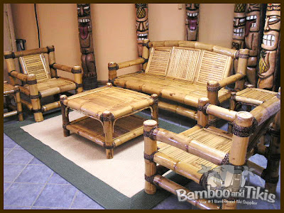 Home design and interior bamboo living room set for Bamboo living room ideas