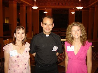 Shelly and Lisa with Father Roderick
